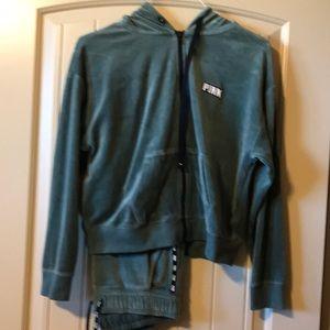 Victoria Secret PINK green velour jog suit size xs